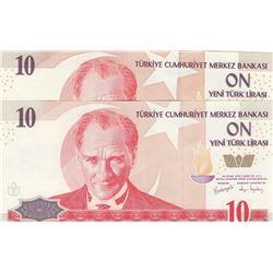Turkey, 10 New Turkish Lira, 2005, UNC, 8. Emission, p218, (Total 2 banknotes)br/Atatürk portrait, s