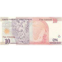 """Turkey, 10 New Turkish Lira, 2005, UNC, 8. Emission, p218, """"F01""""br/Atatürk portrait, serial number:"""