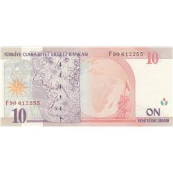 """Turkey, 10 New Turkish Lira, 2005, UNC, 8. Emission, p218, """"F90""""br/Atatürk portrait, serial number:"""
