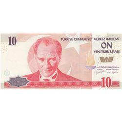 TURKEY BANKNOTE P218 10 NEW LIRA PREFIX E01 UNC