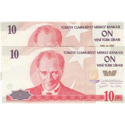 Turkey, 10 New Turkish LIra, 2005, UNC, 8/1. Emission, p218, DIFFERENT WATERMARK, (Total 2 banknotes