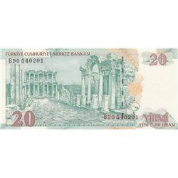 """Turkey, 20 New Turkish Lira, 2005, UNC, 8/1. Emission, p219, """"B90""""br/Atatürk portrait, serial number"""