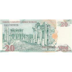 """Turkey, 20 New Turkish Lira, 2005, UNC, 8. Emission, p219, """"Nice Number""""br/Atatürk portrait, serial"""