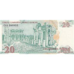 """Turkey, 20 New Turkish Lira, 2005, UNC, 8/1. Emission, p219, """"C01""""ilk prefixbr/serial number: C01 58"""
