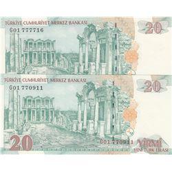 "Turkey, 20 New Turkish Lira, 2005, UNC, 8/1. Emission, ""G01"" Different Watermark set, (Total 2 bankn"