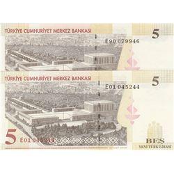"""Turkey, 20 New Turkish Lira, 2005, UNC, 8/1. Emission, """"E01"""" first prefix and """"E90"""" last prefix set,"""