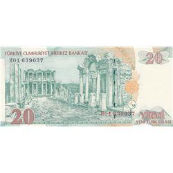 """Turkey, 20 New Turkish Lira, 2005, UNC, 8/1. Emission, """"H01"""" first prefixbr/serial number: H01 63903"""