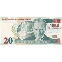 """Turkey, 20 New Turkish Lira, 2005, UNC, p219, """"A01""""br/Atatürk portrait, serial number: A01 167231"""