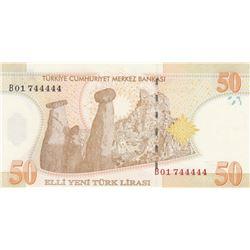 """Turkey, 50 New Turkish Lira, 2005, UNC, 8/1. Emission, p220, """"B01""""br/Atatürk portrait, serial number"""