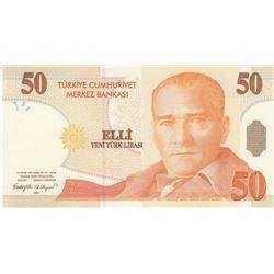 """Turkey, 50 New Turkish Lira, 2005, UNC, 8/1. Emission, p220, """"F01""""ilk prefixbr/serial number: F01 89"""