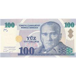 Turkey, 100 New Turkish Lira, 2005, UNC, 8. Emission, p221br/Atatürk portrait, serial number: C47 21