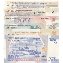 Turkey, 1 New Turkish Lira, 5 New Turkish Lira, 10 New Turkish Lira, 20 New Turkish Lira, 50 New Tur