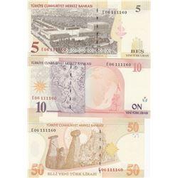 Turkey, 5 New Turkish Lira, 10 Turkish Lira and 50 Turkish Lira, 2005, UNC, 8. Emission, p217, p218,