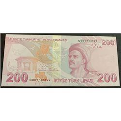 "Turkey, 200 Lira, 2017, UNC, 9/3. Emission, p228c, ""C001""br/Atatürk portrait, serial number: C001 10"