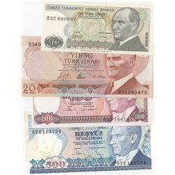Turkey, 10 Lira, 20 Lira, 100 Lira ve 500 Lira, 1966/1983, AUNC/UNC, (Total 4 banknotes)br/Atatürk p