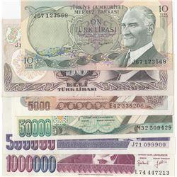 Turkey, 10 Lira, 50 Lira, 5.000 Lira, 50.000 Lira, 500.000 Lira and 1.000.000 Lira, 1966/2002, AUNC
