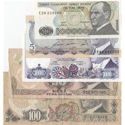 Turkey, 5 Lira, 10 Lira, 50 Lira, 100 Lira and 1.000 Lira, POOR / UNC, (Total 5 banknotes)br/