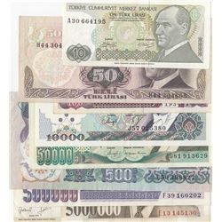 Turkey, 10 Lira, 50 Lira, 100 Lira, 500 Lira, 10.000 Lira, 50.000 Lira, 500.000 and 5.000.000 Lira,
