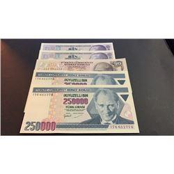 Turkey, 50 Liras, 1000 Liras (2), 250000 Liras (2), UNC, (Total 5 banknotes)br/