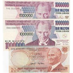 Turkey, 20 Lira and 1.000.000 Lira (2), 1979/2002, VF/XF, 6. and 7. Emission, p187, p209c, (Total 3