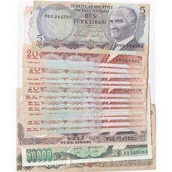 Turkey 5 Lira, 20 Lira (15), 50 Lira, 100 Lira, 50.000 Lira, VF/AUNC, 6. and 7. Emission lot, (Total