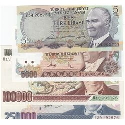 Turkey, 5 Lira, 5.000 Lira, 100.000 Lira and 250.000 Lira, UNC, 6. and 7. Emission, (Total 4 banknot