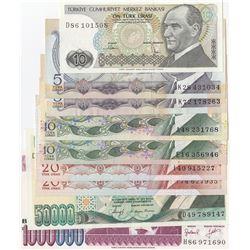 Turkey, 5 Lira (2), 10 Lira (3), 20 Lira (2), 50.000 Lira and 1.000.000 Lira, AUNC/UNC, 6. and 7. Em