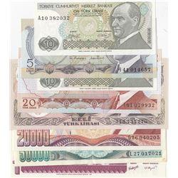 Turkey, 5 Lira, 10 Lira (2), 20 Lira, 50 Lira, 20.000 Lira, 50.000 Lira and 1 New Turkish Lira, AUNC