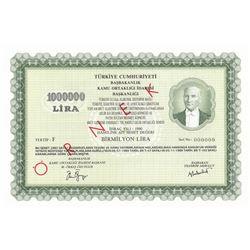 Turkey, Share Stock, 1.000.000 Lira, 1990, UNC, SPECIMENbr/Fatih Sultan Mehmet Bridge stock issued b