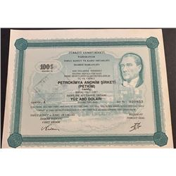Turkey, Petkokimya Anonim Sirketi bond, 100 USD, 1987, UNCbr/