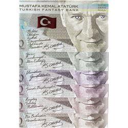 Turkey, 0 Euro, 2019, UNC, FANTASY BANKNOTE, Mustafa Kemal Atatürk, FOLDER, (Total 6 banknotes)br/Fa