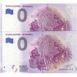 Turkey, 0 Euro, 2019, UNC, FANTASY BANKNOTE, Kapaliçarsi- Istanbul (Total 2 banknotes)br/
