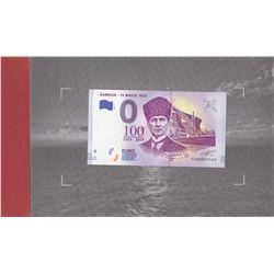 Turkey, 0 Euro, 2019, UNC, FANTASY BANKNOTE, Samsun- 19 Mayis 1919br/Fancy banknote printed in memor