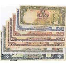 Turkey, 2 1/2 Lira, 5 Lira, 10 Lira, 50 Lira, 100 Lira, 500 Lira and 1.000 Lira, 1938/1939, UNC, Spe