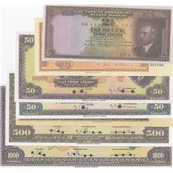Turkey, 2 1/2 Lira, 10 Lira, 50 Lira, 100 Lira, 500 Lira and 1.000 Lira, 1938/1939, UNC, Specimen,