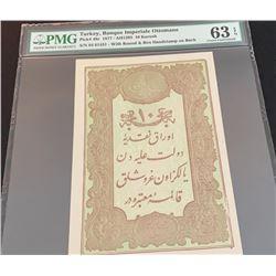 Turkey, Ottoman Empire, 10 Kurush, 1877, UNC, p48dbr/PMG 63 EPQ, serial number:  64-61481, II. Abdül