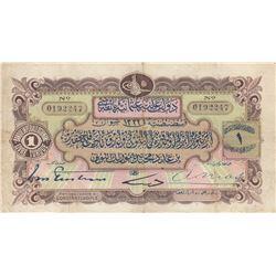 Turkey, Ottoman Empire, 1 Lira, 1914, VF, p68br/V. Mehmed Resad period, Ottoman Bankl Issues, AH:133