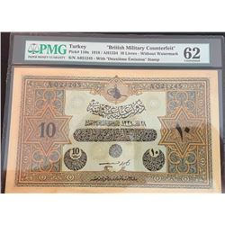 Turkey, Ottoman Empire, 10 Livres, 1918, UNC, p110x, Counterfeitbr/PMG 62, serial number: A 012245,