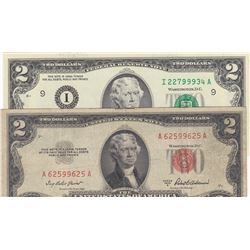 United States of America, 2 Dollars (2), 1953/2003, VF/UNC, p380a, p516a, (Total 2 banknotes)br/seri