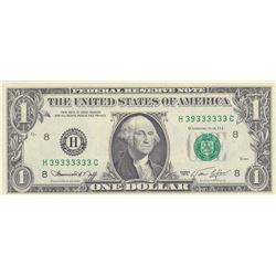United States of America, 1 Dollar, 1974, UNC, p455, 6 DIGIT RADARbr/serial number: H 39333333 C