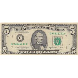 United States Of America, 5 Dollars, 1988, XF (+), p481br/serial number: G 92826131C
