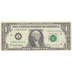 United States of America, 1 Dollar, 1995, UNC, p496, 6 DIGIT RADARbr/serial number: I 24111111 D