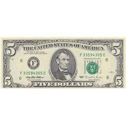 United States of America, 5 Dollars, 1995, UNC, p498br/serial number: F 33594305C