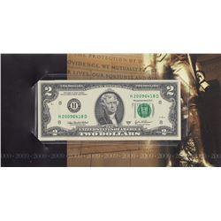 United States of America, 2 Dollars, 2003, UNC, p516b, FOLDERbr/serial number: H 20096418D