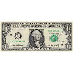 United States of America, 1 Dollar, 2006, UNC, p523, 6 DIGIT RADARbr/serial number: L 30444444 H