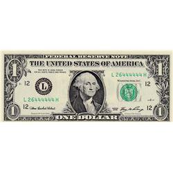 United States of America, 1 Dollar, 2006, UNC, p523, 6 DIGIT RADARbr/serial number: L 26444444 H