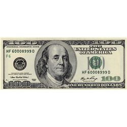 United States Of America, 100 Dollars, 2006, AUNC, p528br/serial number: HF 600089999D