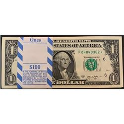 United States of America, 1 Dollar, 2013, UNC, p537, BUNDLEbr/star note, 100 consecutive banknotes,