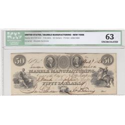 United States of America, Marble Manufacturing, 50 Dollars, 1826, UNC, Haxby NY1705-622br/