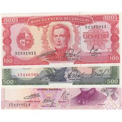 Uruguay, 100 Pesos, 500 Pesos and 1.000 Pesos, 1967/1975, UNC, p47a, p54, p52, (Total 3 banknotes)br